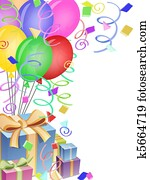 Balloons with Confetti and Presents for Birthday Party