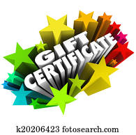 Gift Certificate words surrounded by colorful stars to illustrate a special coupon, voucher or card you can exchange for products, merchandise or services at a store when shopping