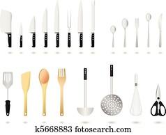 küchenutensilien, satz, vektor