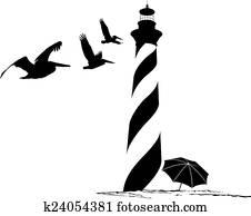 leuchtturm, mit, pelikane