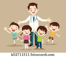 doctor and cute child happy