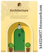 elemente, von, architektur, eingangstür, hintergrund, 22