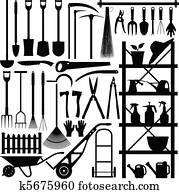 Gardening Tools Silhouette