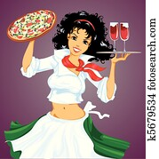 Italian girl with pizza and wine