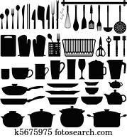 küchenutensilien, silhouette, vektor