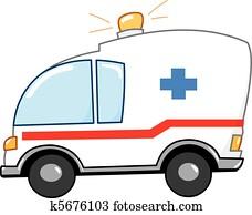 krankenwagen, karikatur