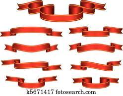 rot, spruchbaender, schleifchen, satz, vektor