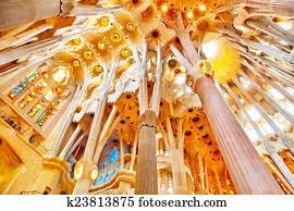 Sagrada Familia, beautiful and majestic interior view.