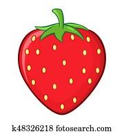 Strawberry Fruit Cartoon Drawing Simple Design