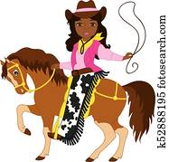 Vector Beautiful Young African American Cowgirl Riding a Horse