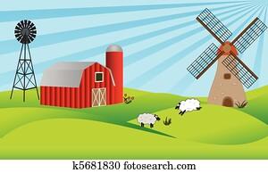 ackerlandschaft, mit, scheune, und, windmühle