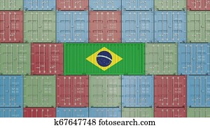 Container with flag of Brazil. Brazilian import or export related 3D rendering