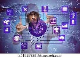 Man in artificial intelligence concept