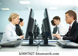 Rows of office workers
