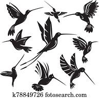 satz, von, silhouetten, fliegen, kolibris
