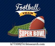 superbowl, sport, plakat, mit, ballon, in, stadion