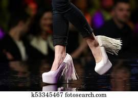 Fashion show runway beautiful pink shoes