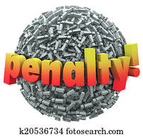 Penalty 3d Word Excalmation Point Mark Ball Punishment Fine