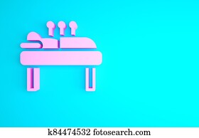 Pink Acupuncture therapy icon isolated on blue background. Chinese medicine. Holistic pain management treatments. Minimalism concept. 3d illustration 3D render