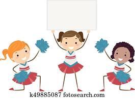 Stickman Kids Girls Cheering Board Illustration