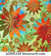 Vintage Floral Grunge Scrapbook Background