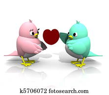 3D TWITTER BIRDS GIVE HEART