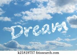 Dream word on cloud
