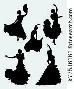 Flamenco dancer silhouette 05.