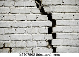 Old cracked brick wall