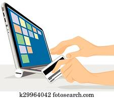 Online shopping with laptop