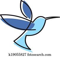 schweben, blau, kolibri