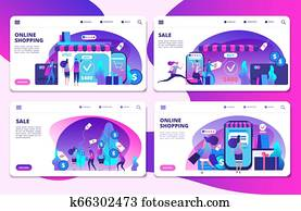 Shopping, online shopping, sale landing page vector templates