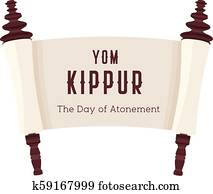 Vector illustration of papyrus on a white background. Scroll paper. Cartoon image of the Torah in the unfolded state. Yom Kippur design