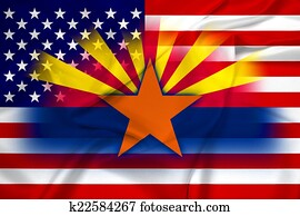 Waving USA and Arizona State Flag