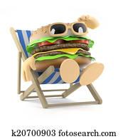 3d Beefburger relaxes in a deckchair