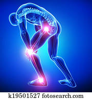 Anatomy of male joint pain on blue
