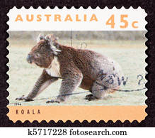 Canceled Australian Postage Stamp Koala Bear Sitting on Grassy Ground