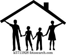 familie, unter, haus, halten, eigenheim, dach, hinüber, kinder