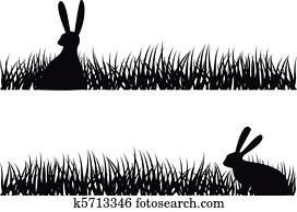 kanninchen, in, grass,, vektor