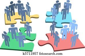 menschlich, personengruppe, organisation, puzzlesteine, loesung