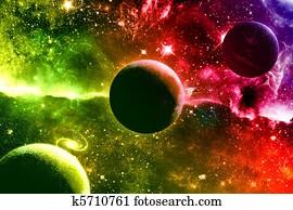 Universe galaxy nebula stars and planets