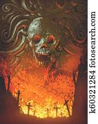 burning graveyard in the skull cave
