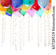 colourful balloons filled with helium and with golden streamers isolated on white