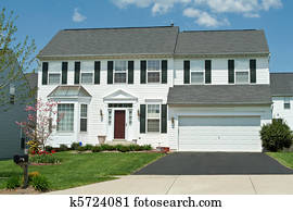 Front View Vinyl Siding Single Family House Home, Suburban Maryl