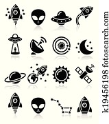Space and UFO vector icons set