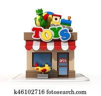 Toy shop mini store 3d rendering