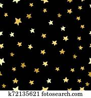 Gold Glitter Stars Seamless Pattern - Scattered gold glitter stars on faded navy blue background seamless pattern