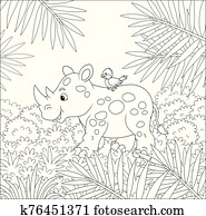 Little rhinoceros walking through jungle