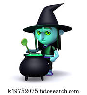 3d Witch cooks a spell