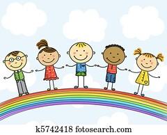 Children. Vector illustration.